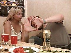 Curvy fair-haired Edeline gets drunk with say no to BF