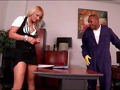 Black janitor blown overwrought light-complexioned secretary