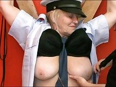 Chained up granny sub fondled in donjon