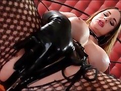 Wild Cathy Heaven masturbates in latex gloves