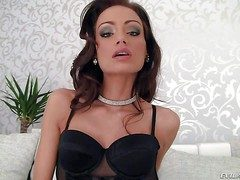 Longing legged brown Sophie Lynx in downcast black lingerie loves