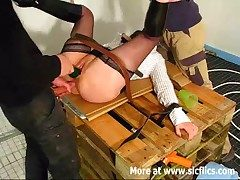 Lay slut fist fucked by two builders